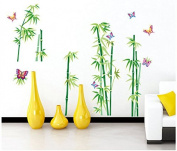 Colourful Butterflies Bamboos Wall Sticker House Decal Removable Living Room Wallpaper Bedroom Kitchen Art Picture PVC Murals Sticks Window Door Decoration + 3D Frog Car Sticker Gift