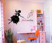 Colourful Butterflies Black Fairy Wall Sticker House Decal Removable Living Room Wallpaper Bedroom Kitchen Art Picture PVC Murals Sticks Window Door Decoration + 3D Frog Car Sticker Gift