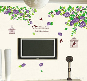 Green Leaves Flowers Branch Birds Birdcages Wall Sticker House Decal Removable Living Room Wallpaper Bedroom Kitchen Art Picture PVC Murals Sticks Window Door Decoration + 3D Frog Car Sticker Gift
