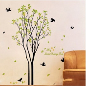 Green Leaves Tree Black Birds Wall Sticker House Decal Removable Living Room Wallpaper Bedroom Kitchen Art Picture PVC Murals Sticks Window Door Decoration + 3D Frog Car Sticker Gift