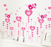 Heart Shape Trees Butterflies Wall Sticker House Decal Removable Living Room Wallpaper Bedroom Kitchen Art Picture PVC Murals Sticks Window Door Decoration + 3D Frog Car Sticker Gift