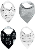 Nikitony Baby Bandana Drool Bibs With Snaps - Modern Monochrome Print On Organic Cotton - Best Triangle Scarf Gift Set - For Boys And Girls 4 Pack