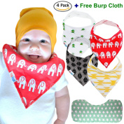â˜... 4-Pack Baby Bandana Drool Bibs (Unisex) & FREE Organic Cotton Burp Cloth ~ Best Gift For Toddlers