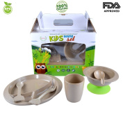 7-piece Toddlers Kids Dinnerware Set Including Divided Plate,Bowl,Suction,Cup,Spoon,Soup Spoon & Fork.100% Organic,eco-friendly,bio-degradable Material, FDA, BPA-Free, Complete baby feeding set.