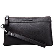 Mens Genuine Leather Clutch Bag Handbag Organiser Wrist Zipper Long Wallet