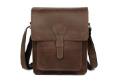 Tiding Men's Genuine Leather Messenger Shoulder Bag Satchel Brown