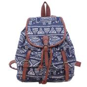 HoJax Ladies Girls Vintage Boho Pattern Drawstring Shoulder Bag Casual Multi-pockets Backpack Rucksack