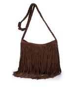 Womens Fashion Brown Fringe Cowgirl Tassel Faux Suede Shoulder Messenger Cross Body Tote Handbag