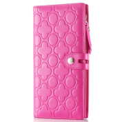 Contacts Women's Genuine Leather Long Wallet Clutch Zip Wallet Holder Embossed Purse Fushia