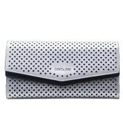 Contacts Women's Genuine Leather Hollow Trifold Snap Wallet Clutch Bag Silver
