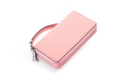 Contacts Women's Genuine Leather Double Zipper Clutch Wallets Bag with Wristlet