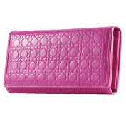 Contacts Women's Rose Red Genuine Leather Long Purse Cell Phone Wallet