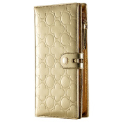 Contacts Women's Genuine Leather Clutch Cell Phone Wallet Holder Love Embossed Purse Gold