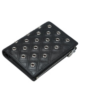 Contacts Women's Genuine Leather Trifold Wallet Short Design Coin Purse Black