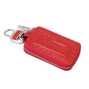 Contacts Women Genuine Leather Key Chain Holder Case Keychain Remote Wallet Bag Red