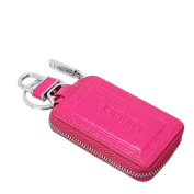 Contacts Genuine Leather Car Keychain Key Holder Case Car Key Wallet for Women Pink