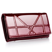 Contacts Women's Patent Leather Wallets Long Clutch Purse Bag Card Holder Case Red