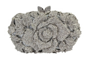 Yilongsheng Ladies Glittery Evening Clutch Bags with Floral Leafy Crystal Diamonds