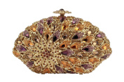 Yilongsheng Ladies Fanshaped Evening Handbags with Coloured Beaded Crystal Diamonds