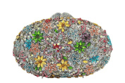 Yilongsheng Women's Oval Clutch Bags with Bright-coloured Floral Crystal Rhinestones