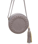 SBD Female Vintage Tassels Cute Round PU Leather Single Shoulder Purse Bag with Strap