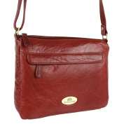 Ladies LEATHER Cross Body Bag Handbag by Rowallan; Razzano Maroon Shoulder