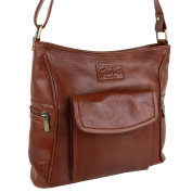 Ladies Tan Brown LEATHER Cross Body Bag Handbag by Gorjus Shoulder Strap