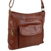 Ladies Tan Brown LEATHER Cross Body Bag Handbag by Gorjus Shoulder Strap