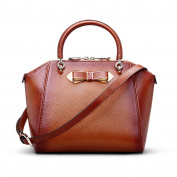 Qianmufan Women's Real Leather Tote Handbag Cross Body Shoulder Bag With Bowknot