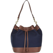 Lochcarron Annabell Wool and Leather Bucket Navy Bag