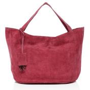 BACCINI large shoulder bag - handbag SELMA - women`s bag FUCHSIA leather