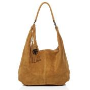 BACCINI large shoulder bag - handbag SELINA - women`s bag LIGHT-TAN leather