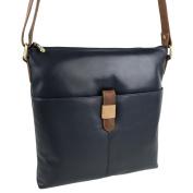 Ladies Soft LEATHER Slim Medium Two-Tone Cross Body Bag by GiGi Handbag