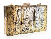 Stunning Gold Crackle Effect Box Clutch Bag Wedding Prom Evening Races