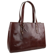 Ladies Italian Vintage Brown LEATHER Large Handbag by Visconti Business Work Bag