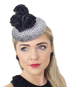 """FREYA"" WOMENS LADIES HANDMADE SILVER SEQUIN BLACK METALLIC ROSES VINTAGE STYLE HAT FASCINATOR HEADPIECE RETRO RACES WEDDING FASCINATORS UK ASCOT BURLESQUE PIN UP 1940S 40s"