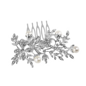 NUOLUX Flower Rhinestone Bridal Wedding Hair Comb Slide Clip Faux Pearl Decorated