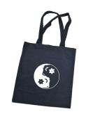 Tote bag shoulder cotton bag with YinYang Fairy / Cotton Short Handle Shopping Bag / Tote