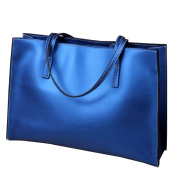 Ladies Soft Leather Tote Bag Handbag Shiny Blue