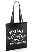 VINTAGE 1966 AGED TO PERFECTION 50th Birthday Present Tote Bag - With A Black Print - Edward Sinclair Shoulder Bag