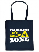 Funny Printed Fabric Cotton Bag - Danger. It's Single Zone Quotes - Bag Carry Bag