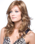 Dream Queen® Long Curly Oblique Bangs Brown Wig Hair for Women