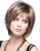 Dream Queen® Short Straight Oblique Bangs Brown Wig Hair for Women