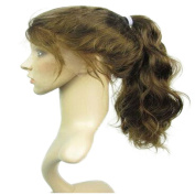 Drasawee 50cm Full Lace wigs 100% Indian Remi Human Hair lace wigs Body Wavy Long Ponytail Wigs 4# Medium Brown