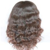 Drasawee 46cm Long Wig Natural Wavy 100% Indian Remy Human Hair Full Lace Wigs 2# Dark Brown