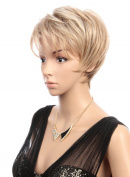 Prettyland Wig - Blonde Pixie Short Wig Brown and Blonde streaked with fringed bangs C695