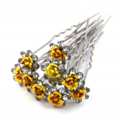 Mont Cherry High Quality Elegant Rose Flower Crystal Diamante Wedding Bridal Prom Hair Pins Various Colours 10 pins with Silver Bindi/Tatoo pack by Trendz
