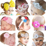 9pcs Cute Newborn Baby's Headbands Girl's Hair Bands With Flower
