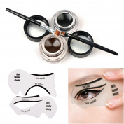 Tinabless 2 in 1 Brown and Black Waterproof Gel Eyeliner Set with Makeup Eyebrow Brush + Cat Eye Liner Stencil