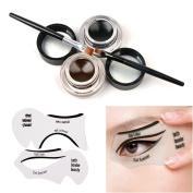 Tinabless 2 in 1 Brown and Black Waterproof Gel Eyeliner Set with Makeup Eyebrow Brush + Cat Eye Liner Stencil